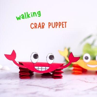 crab paper puppet craft
