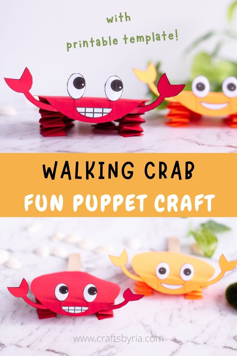 paper crab craft puppet-image for pinterest