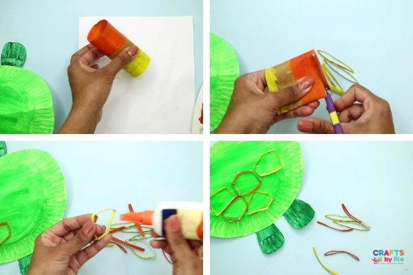 Make the turtle shell design using a painted paper roll.