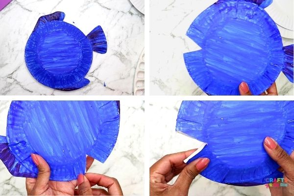 paint the paper plates and cut out the mouth-step 4