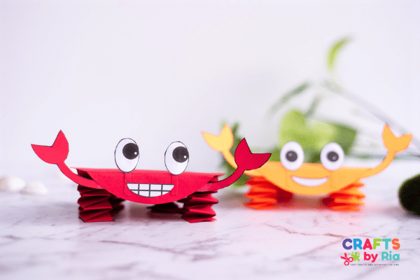 Paper crab craft for toddlers