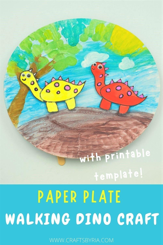 paper plate dinosaur craft for kids-pinterest image