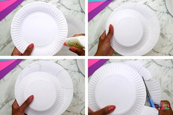 Stick the two paper plates together and draw lines for the fins and tail