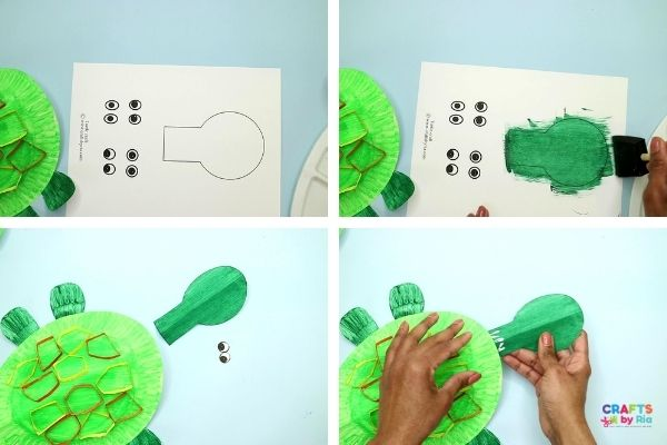 Paint the turtle head on the turtle craft template.