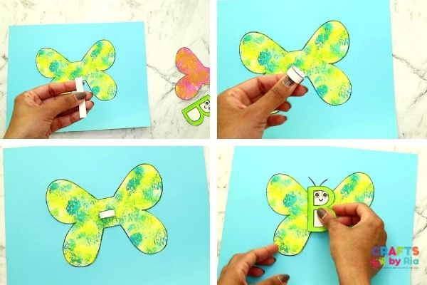 Make a paper roll for a 3d effect and stick the butterfly face on it.