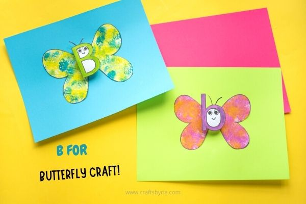 b for butterfly sponge painting craft for kids