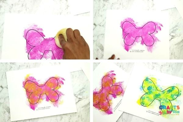 For the lowercase letter b craft, sponge paint the smller butterfly printable template