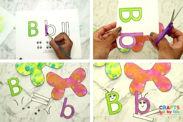 Paint the uppercase and lowercase b an cut out the parts
