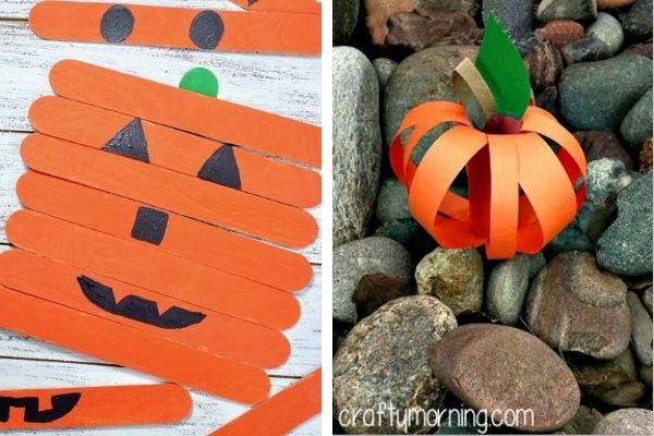 halloween pumpkin from popsicle sticks and paper