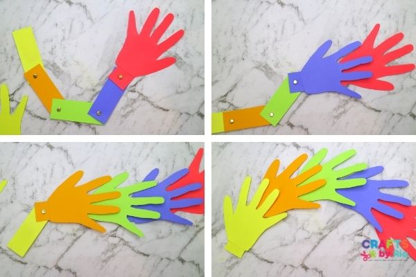 make the handprints and stick them the rectangle cardstock