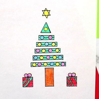 how to draw Christmas tree with shapes poster