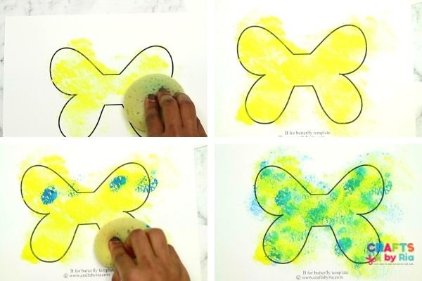 sponge paint the butterfly craft template
