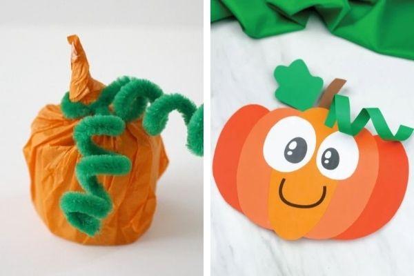 how to make paper pumpkin and cardboard tube pumpkin for kids