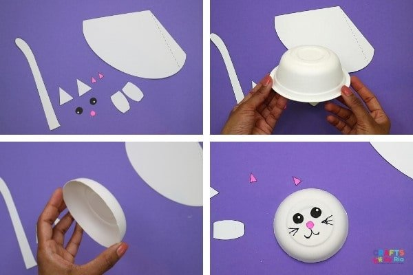Cut the paper bowl rim and stick the cat's eyes and nose on it.