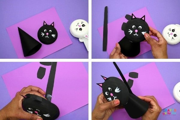 To make the black cat craft, use a black cardstock paper.