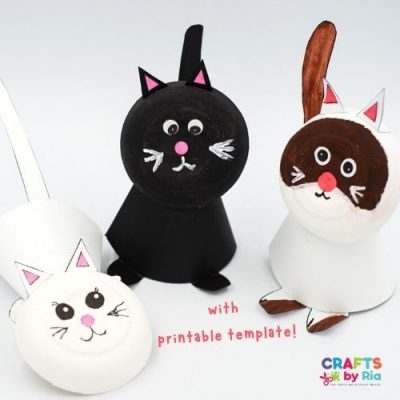 cat craft using paper and paper bowl-featured