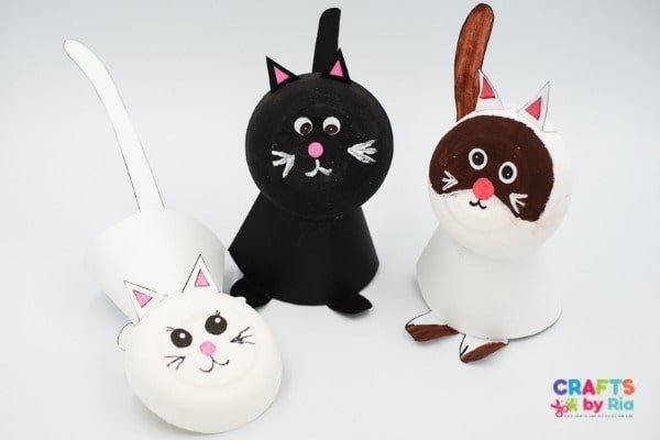 easy cat crafts- paper bowl craft idea