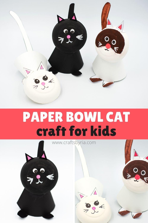 paper bowl cat craft for kids-image for Pinterest