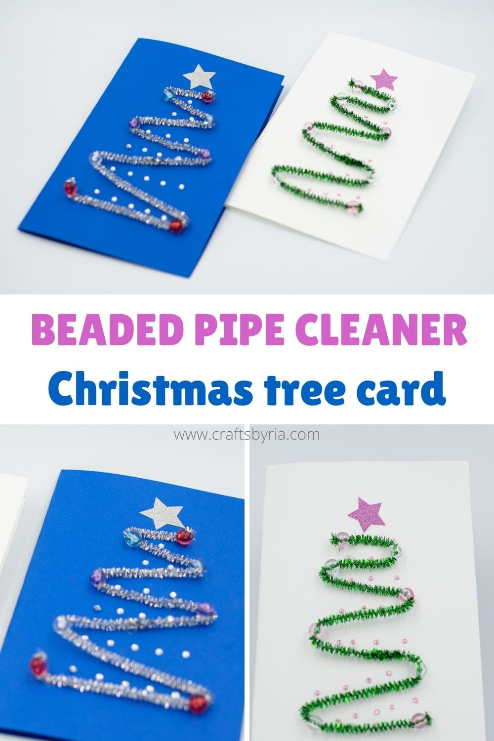 beaded pipe cleaner Christmas tree card craft