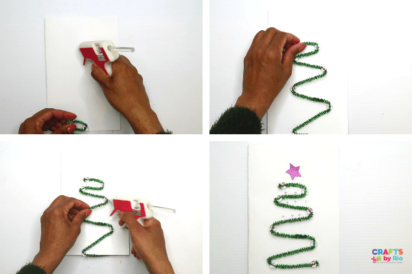 Stick the handmade christmas tree on to a cardstock