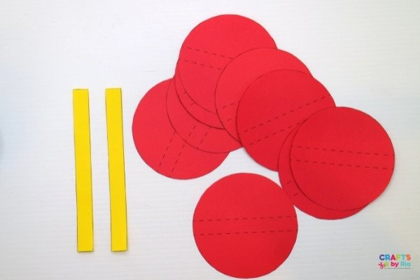 Cut out circles and rectangle sttrips to make the lantern craft
